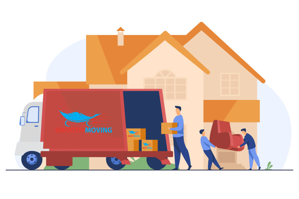 Loaders carrying armchair and boxes in new house Smooth Moving